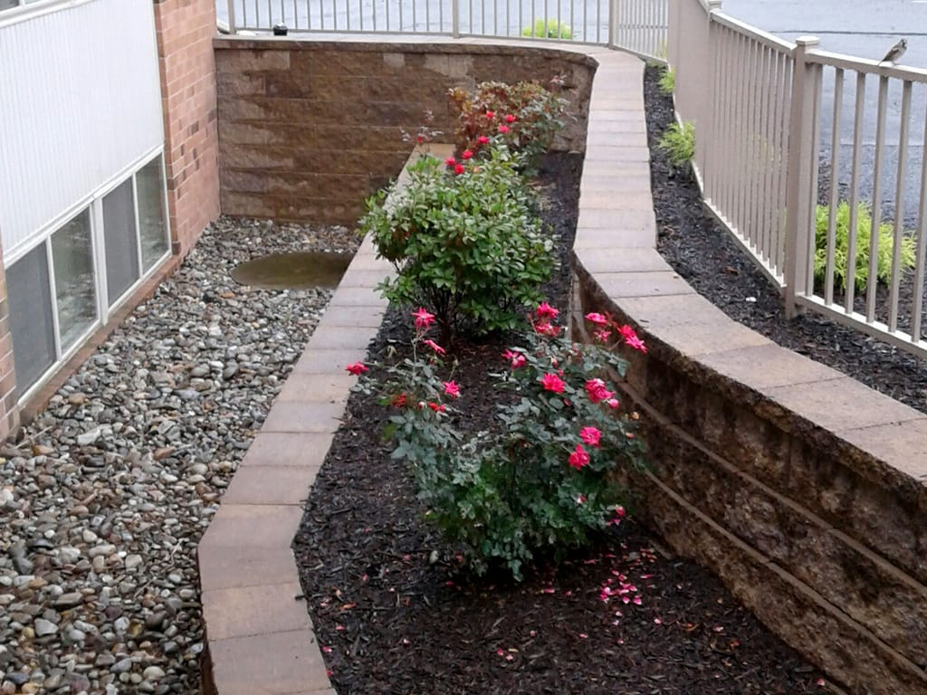 Apartment complex two tiered retaining wall with Diamond Pro block