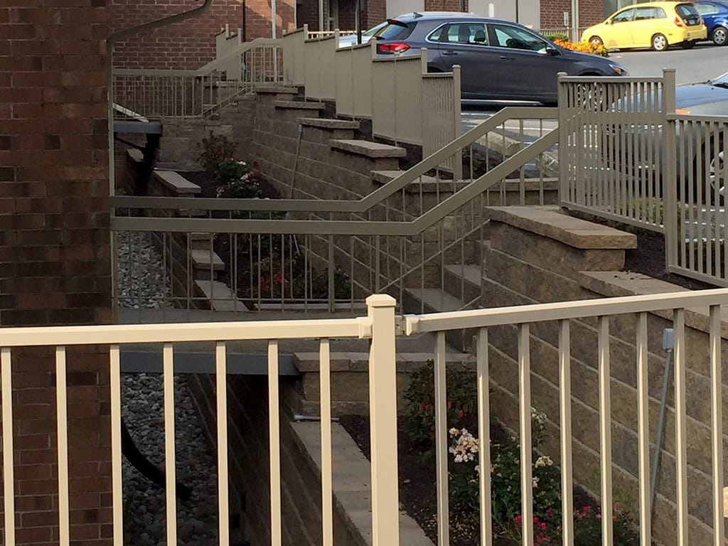 Apartment complex two tiered retaining wall