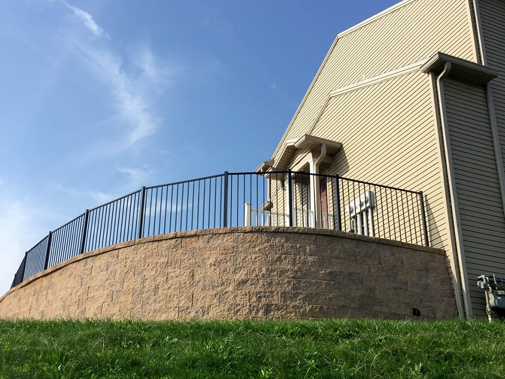 Retaining Wall with aluminum fence