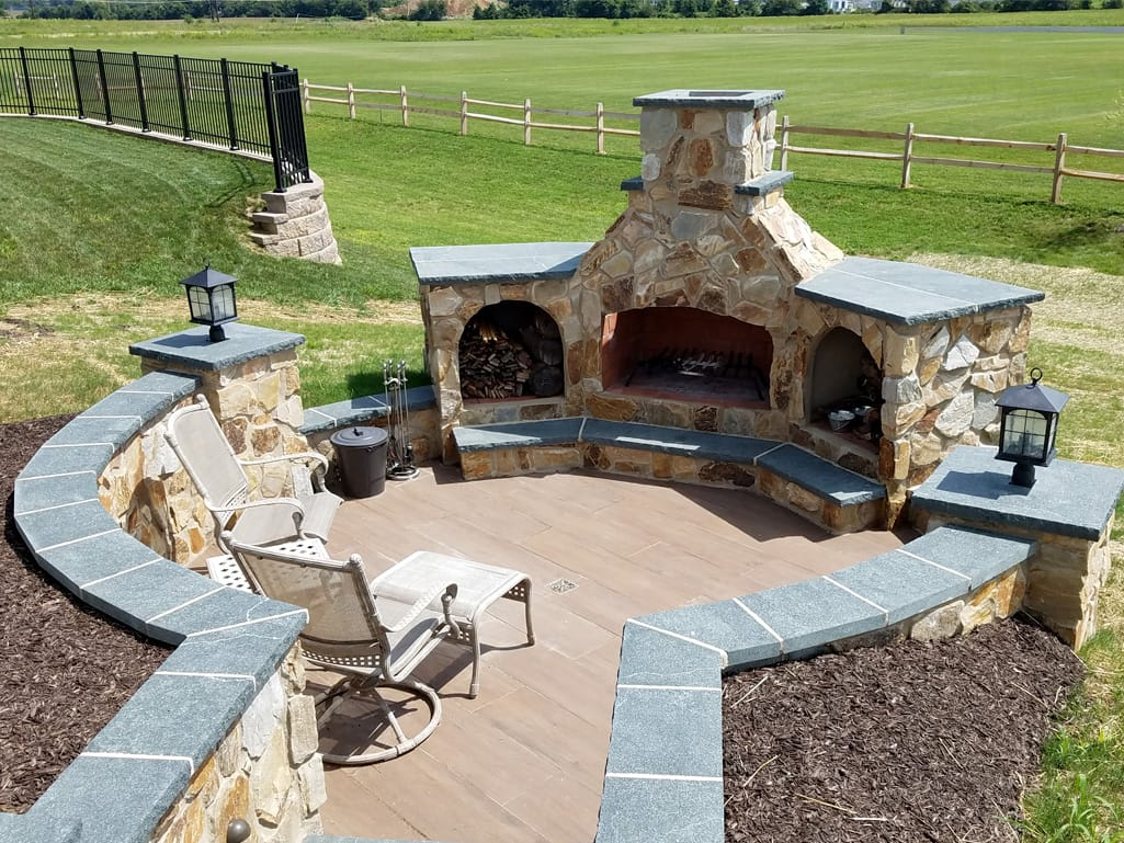Entrance to outdoor fireplace