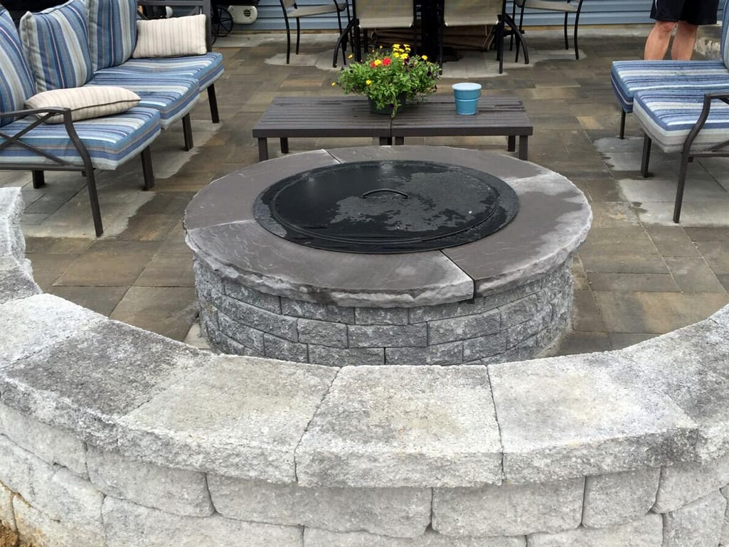 Mirastone seat wall, fire pit & patio
