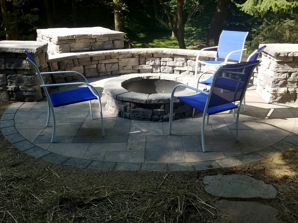 Provence patio with lafitt border, Belvedere fire pit and sitting wall