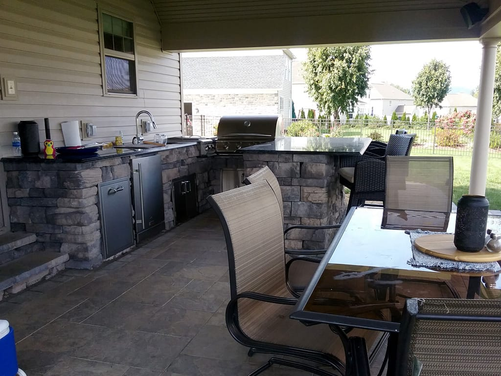 Close up of outdoor kitchen & patio