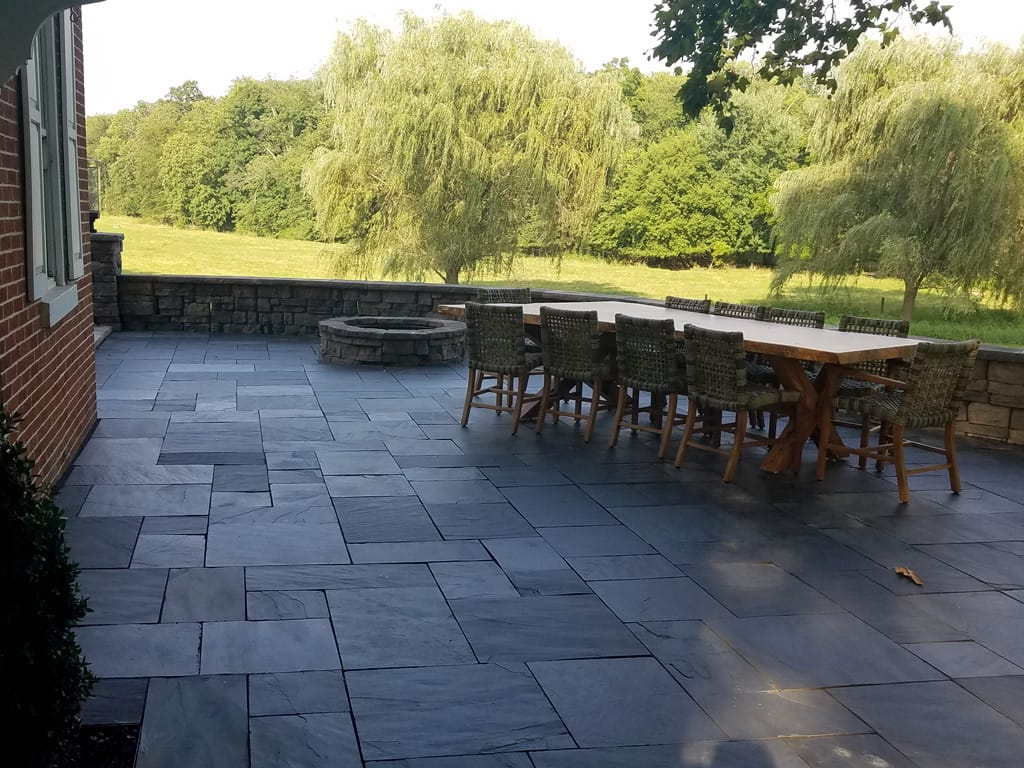 Black slate patio with belvedere fire pit