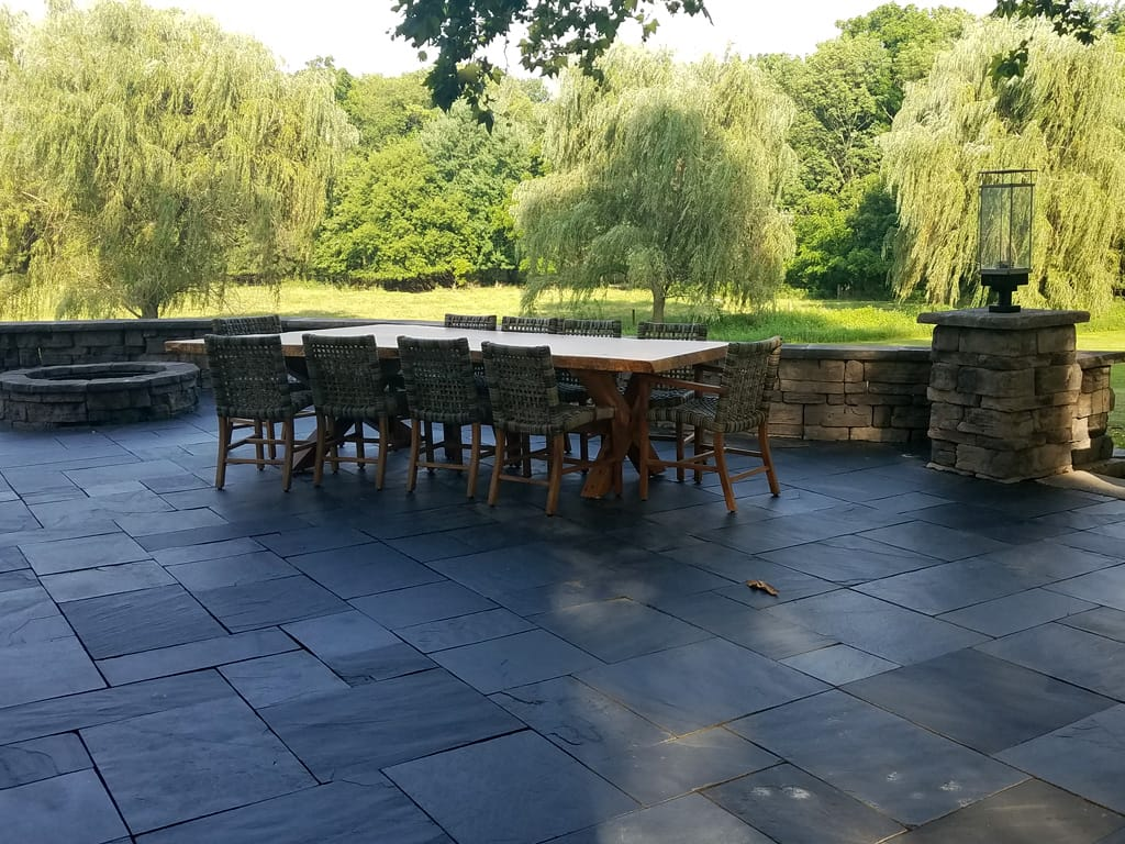 Black slate patio & Belvedere columns