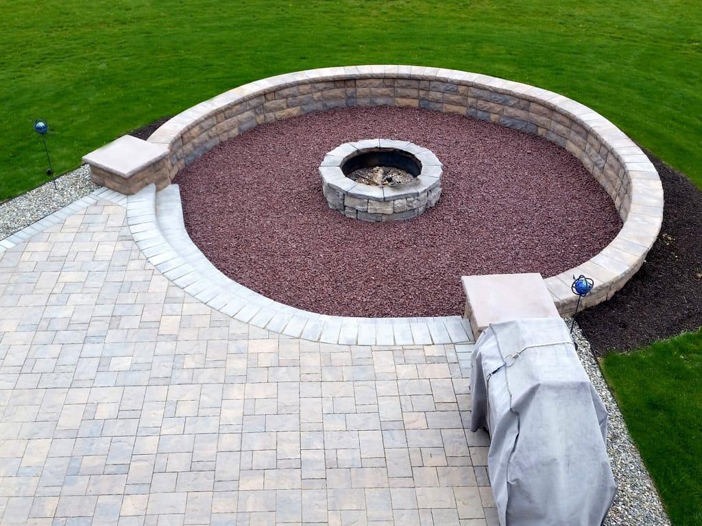 Belair sitting wall, Lafitt pavers, & Belvedere firepit