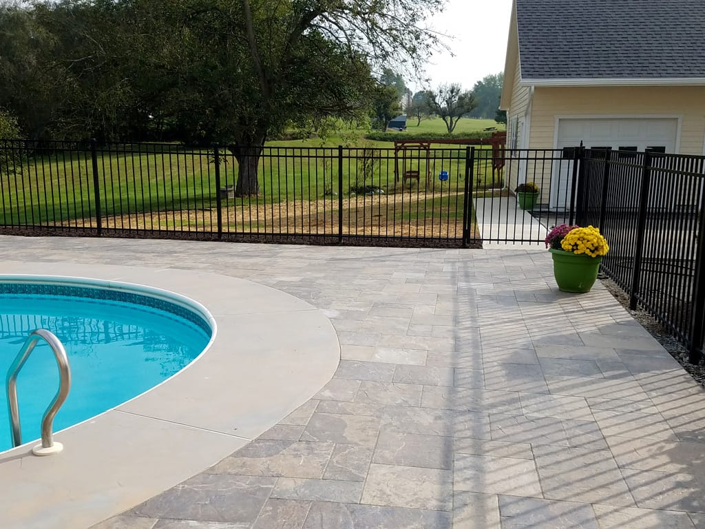 Provence black hills pool patio & brushed concrete walkway