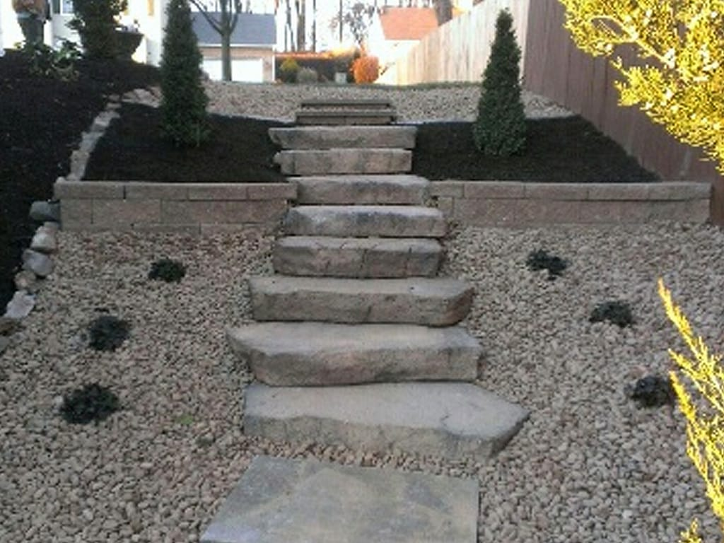 Canyon Irregular steps & square stepping stones leading to the backyard